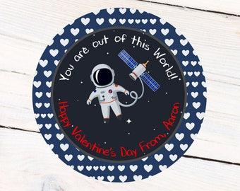 Outer Space Valentine Labels, School Valentine's Personalized Sticker - Happy Valentine's Labels, Favor Labels, Goodie Bag Labels Astronaut
