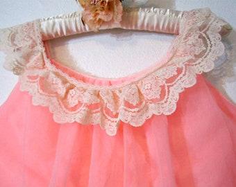 Nylon Chiffon Nightgown 1960s Lingerie Size M