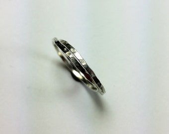 hammered stacking rings sterling silver set of 2