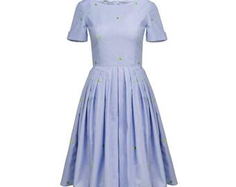 Blue retro dress,  swing dress, pin up dress, 50s petticoat dress