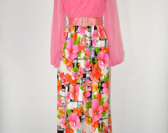 60s hot pink gown / 1960s floral maxi dress / vintage chiffon dress