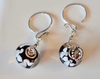 Sterling Silver Black with White Flowers Lampwork Dangle Earrings