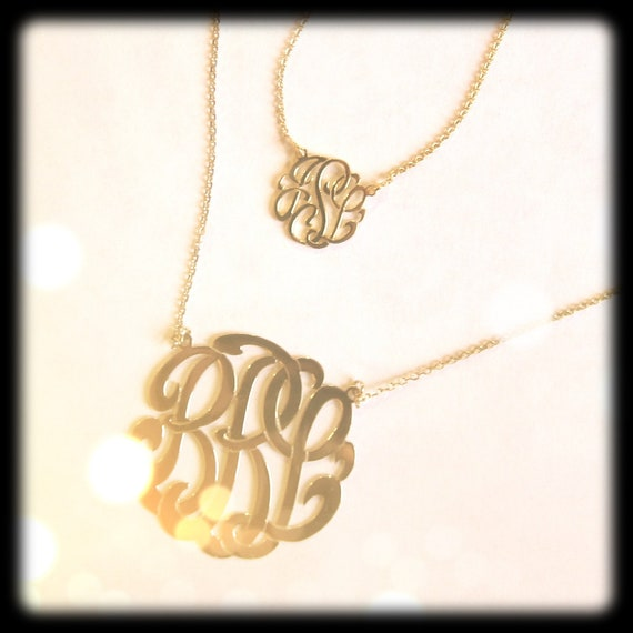 Tiny 14k gold monogram necklace aloadofball Image collections