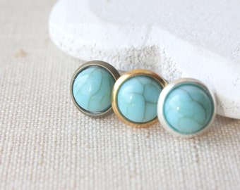 Tiny Turquoise Earrings, Little Turquoise Stud Earrings STUD or CLIPS, small lightweight Resin Faux Turquoise Jewelry, dainty 8mm stud E522