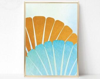Printable Abstract Coastal Art, Abstract Beach Print, Printable Beach Watercolor Art, Blue Modern Wall Art, Blue Gold Modern Wall Artwork