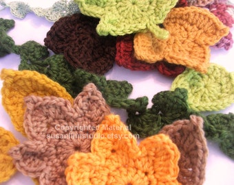 SALE Leaf Crochet Patterns - Instant Download for 2 Fast and EASY Fall Maple Leaf Crochet Applique Patterns