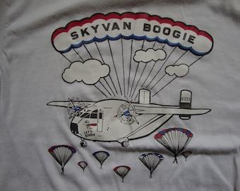 Vintage 80's Skyvan Boogie Plane White T Shirt Size M