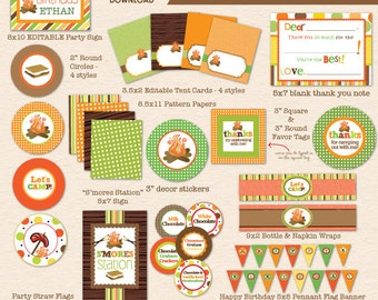 Camping Birthday Party - Party by the Campfire - DIY Printable Party Pack- Instant Download PDF File