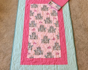 Pink and Aqua Noah's Ark Quilt 40x60 with pillow case