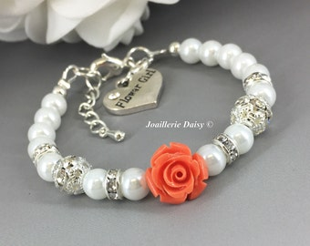 Coral Flower Bracelet Flower Girl Jewelry Flower Girl Bracelet Gift for Flower Girl Coral Bracelet Wedding Flower Jewelry Gift for Girl