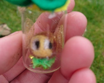 Bee necklace Needle felted animal Cute gift needle felted bee in a vial/ jar with sparkly wings cute gift for easter