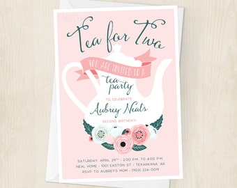 Tea for Two Birthday Invitation - Little Girls - Tea Party - Enchanted - Floral - Second Birthday Party - Invite - Digital/Printable File