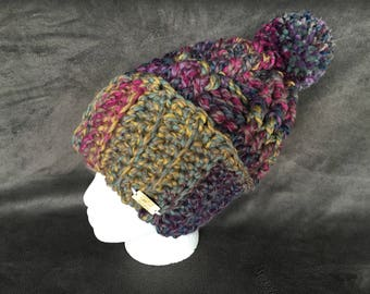 The Arcade Beanie | Crochet Hat in Purple, Pink, Green, Yellow Acrylic / Wool Blend Yarn with Jumbo PomPom | Adult Size