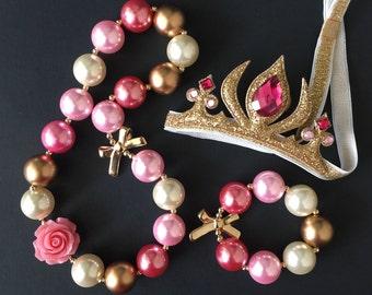 Princess Aurora Necklace,Aurora Necklace,Pink Bubblegum necklace,Pink and Gold necklace,Pink Chunky Necklace,Aurora crown,Disney Aurora