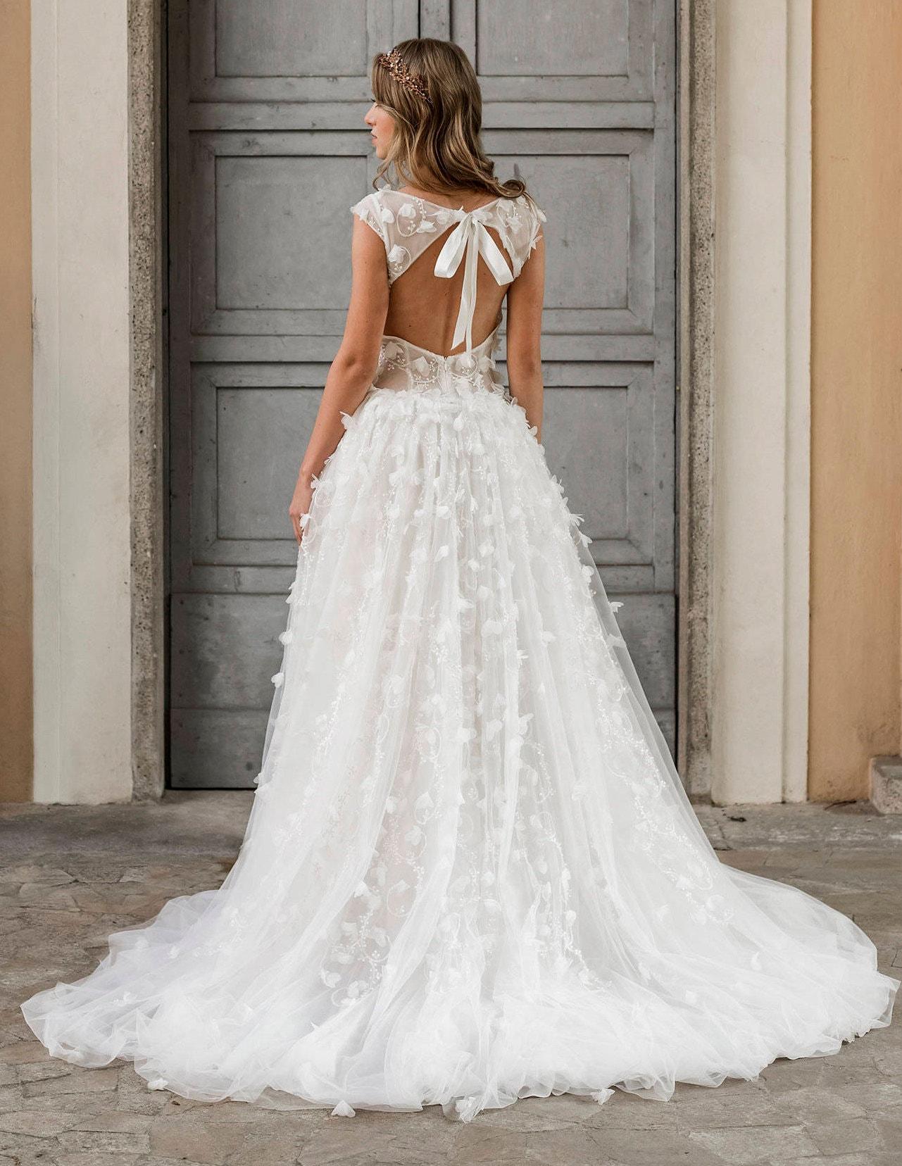 3D Spitze Brautkleid rückenfreie Hochzeitskleid Tüll