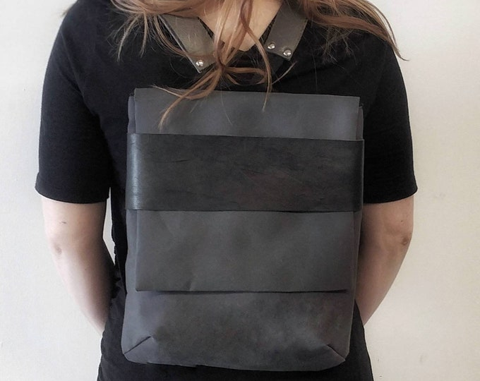 Backpack with flap leather urban waterproof canvas adjustable and large with back pockets