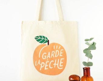 "Tote Bag ""Garde la pêche"" 100% cotton peach and green shopping bag"