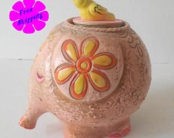 RARE Vintage 1960's Carnival Piggy Bank Elephant with Tweeting Bird//KITSCHY