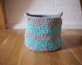 CROCHET PATTERN chevron woven basket, zig zag storage bin,  bowl, home decor,  Instant download