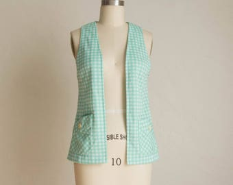 Vintage Mint Green & White Gingham Open Front Sweater Vest