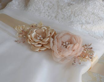Bridal Sash, Bridal belt, Wedding Sash, Champagne Wedding Belt, Flower Sash, Wedding dress sash, Bridal Dress Decoration, Lace Sash Bridal