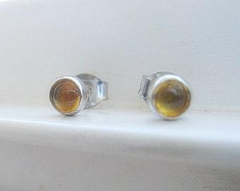Citrine Stud Earrings in Sterling Silver