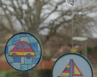 Silk painted sun catchers - boat or car