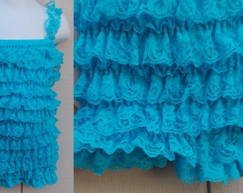 Vintage Blue Lace Pettipants Romper for Little Girl's - Toddler size 3 Pantaloon Bloomers