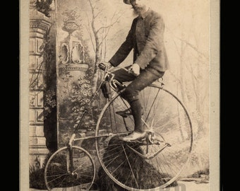 Rare Antique Photo ID'd Man Riding 1888 SMITH STAR High Wheel Safety Bicycle