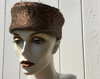 Pillbox Vintage Hat In A Rich Shiny Bronze Colour / Rockabilly Pinup Style