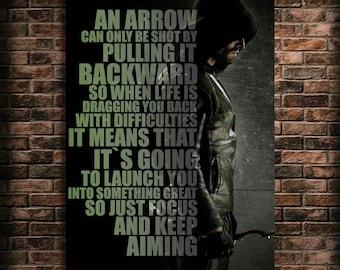 Green Arrow Print Famous Quotes Art