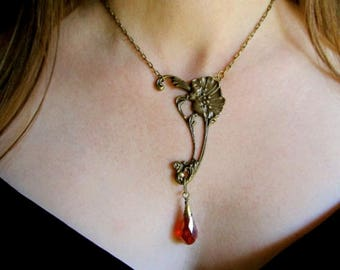 Art Deco Necklace Red and Gold Poppy Necklace Art Nouveau Jewelry Flower Pendant- Poppy