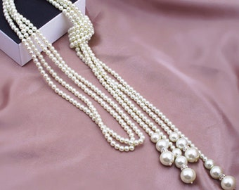 Freshwater Pearl White Drop Pearl  Beaded Necklace