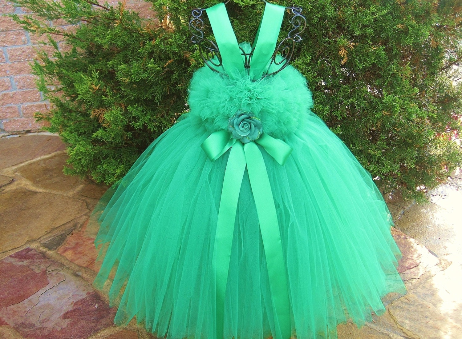 KELLY GREEN Green Tutu Dress Flower Girl Gown Pageant Girl