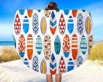 "Round Beach Towel, Surf Board, Surfing Beach Towel, Beach Blanket, Yoga Blanket, 60"""