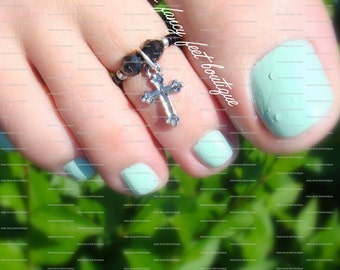Cross Toe Ring, Cross Ring, Cross Charm, Cross Charm Bead, Black Bicones, Black Beads, Toe Ring, Ring, Stretch Bead Toe Ring