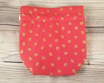 Strawberry Knitting Project Bag, Small Sock bag, project bag, small bag, drawstring bag, storage bag