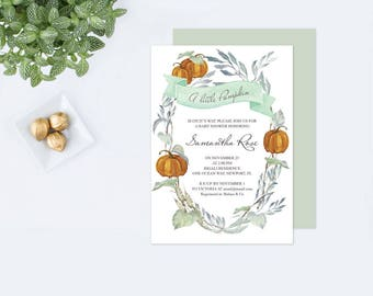Fall DIY Greenery Baby Shower Invite, Editable Text Baby Shower Invite, LITTLE PUMPKIN Baby Shower Invitations, Gender Neutral, Green Leaves