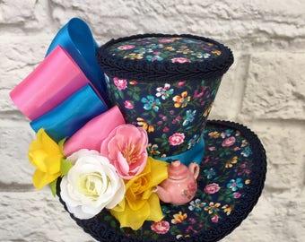 Alice in Wonderland Mini Top Hat, Mad Hatter Top Hat, Alice Fascinator, Tea Party Mini Top Hat.