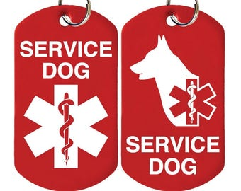 Personalized Service Dog Tags 4 Lines Engraved Allunimum Id Tag Set Of 2