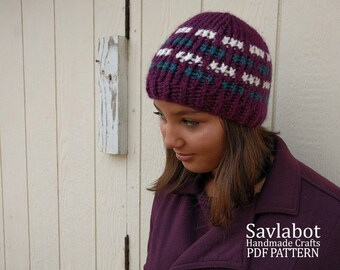 knit beanie pattern \ ribbon stitch beanie \ pdf knit pattern \ pdf beanie pattern no. 012