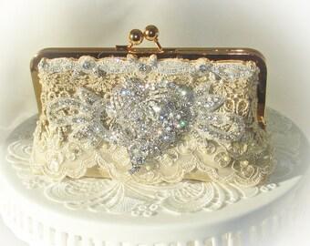 Wedding Clutch / Gold Clutch / Prom Clutch / Downton Abbey / Rustic Elegance Wedding / French Vintage Wedding