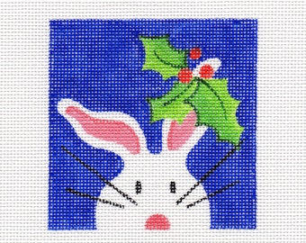 Holly and The White Bunny Needlepoint Square - Jody Designs  WB12