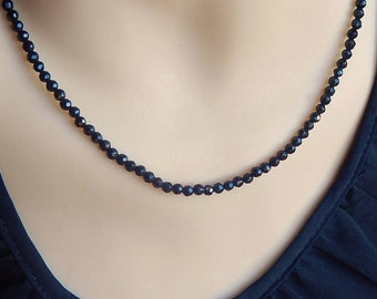 Black Onyx faceted beads strand  necklace with sterling silver closure
