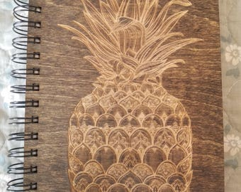 Pineapple Etched Wooden Notebook