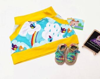Rainbow skirt, and summer baby shoes, rainbow baby skirt, rainbow baby shoes, girls pram shoes, bird pocket skirt, kangaroo pocket skirt