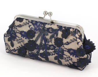 Champagne and Navy Plum Blossoms Lace Bridal Clutch, Bridesmaid Clutch, Mother of the Bride Wedding Purse