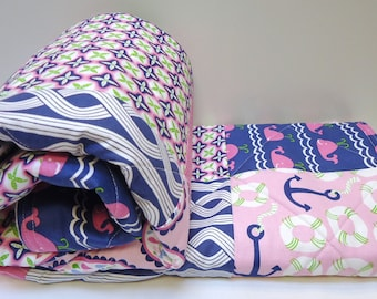 Nautical Baby Girl Quilt-Navy Blue and Pink Modern Crib Bedding-Whales-Ocean-Sea-Coast-Quilted Baby Blanket