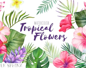 Watercolor Tropical Flowers Clipart | Hawaii Clipart - Hibiscus Flowers - Palm Leaves - Summer Beach Wedding Invite - Instant Download PNGs