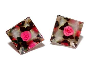 Vintage Lucite Pink Rose Earrings
